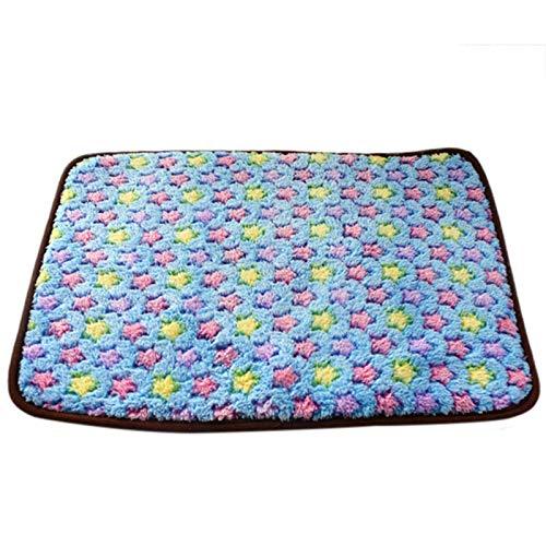 GCSEY Dog Summer Cool Mat, 2 En 1 Pet Bamboo Coral Fleece Warm Mat, Puppy Cooling Mat Pad Manta De Cama Ambos Lados Disponibles,Blue,S