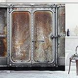 ABAKUHAUS Industrial Cortina de Baño, Locomotora del Tren de Potencia, Material Resistente al Agua Durable Estampa Digital, 175 x 200 cm, Gris marrón
