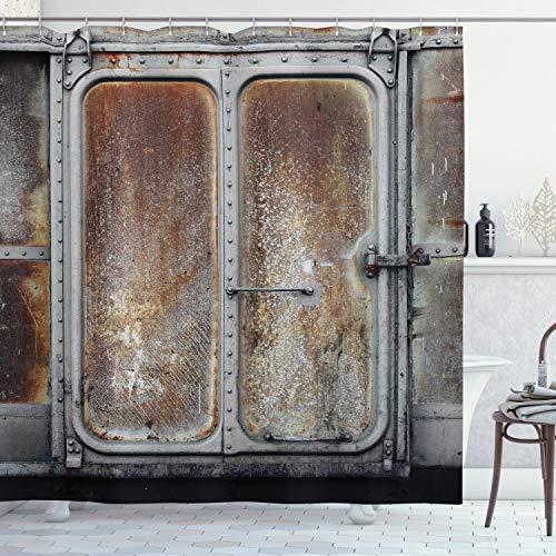 ABAKUHAUS Industriale Tenda da Doccia, Locomotiva Treno Potenza, Tessuto Set di Decorazioni per Il Bagno con Ganci, 175 x 200 cm, Grey Brown