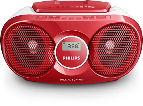 Philips AZ215R/12 - Reproductor de CD, Radio portátil, 3 W, Sintonizador Digital, Rojo