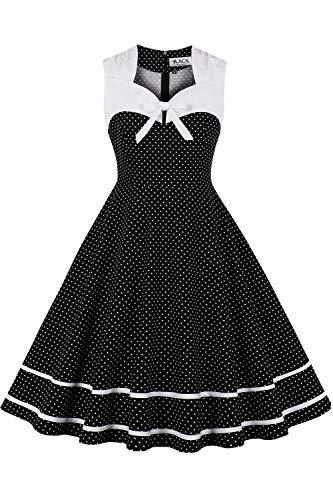 AXOE Damen Petticoat Kleid Rockn Roll Abendkleid 50er Jahre Knielang Schwarz Weiß Punkte Gr.36, S
