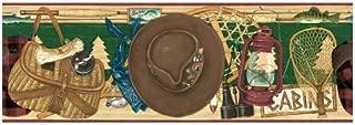 Fishing Items Wallpaper Border - Red - Tackle Box, Rod and Reel…