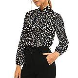 Camisetas de manga larga Lunares Tops de las mujeres Y2k atar blusas de gasa botón arriba camisa casual otoño Streetwear, negro (lunares), L