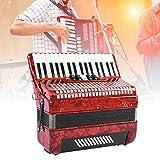 Botón Acordeón, Rojo 34 Teclas 48 Bajo Mano Acordeón Piano Acordeonista Principiante Adulto Instrumento de Música para Sus Niños