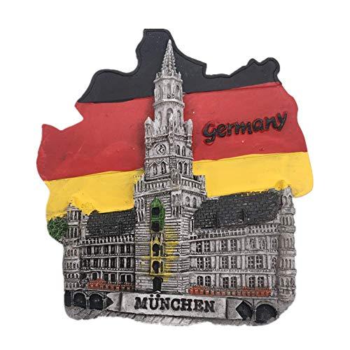 Kühlschrankmagnet Marienplatz München Flagge Deutschland 3D Harz Handgemachtes Handwerk Tourist Travel City Souvenir Sammlung Brief Kühlschrank Aufkleber