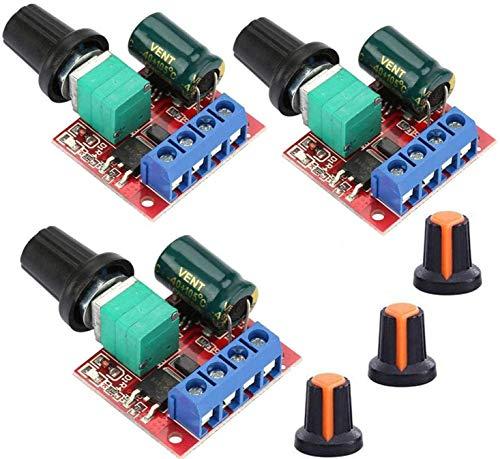 VISSQH 3 Piezas 5V-35V 5A PWM DC Controlador de Velocidad del Motor, Dc Regulador De Voltaje Variable, 6V 12V 24V DC Interruptor de Controlador Ajustable,con Indicador LED