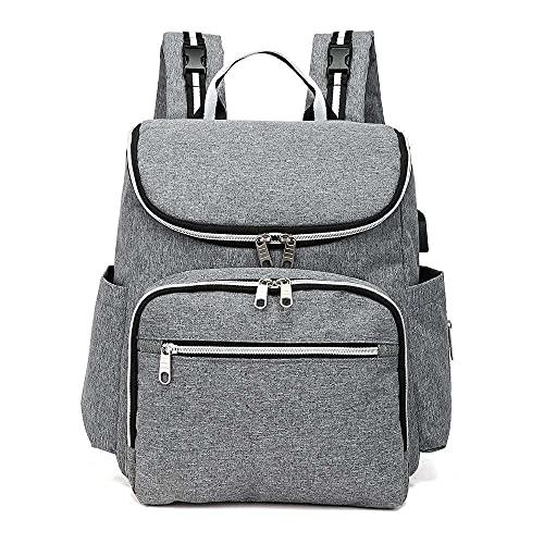 Etyybb Bebé Cambio de bolsas Mochila Black con puerto USB A prueba de agua Maternidad Pañal Bolsa de pañales Mochilas Normas Bolsa de viaje grande para hombres y mujeres-gris_L