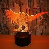 Yujzpl 3D Illusion Lamp Led Night Light, USB Powered 7 colores Intermitente Touch Switch Iluminación para niños Regalo de Navidad[Clase de energía A +++]-Caries de dinosaurio