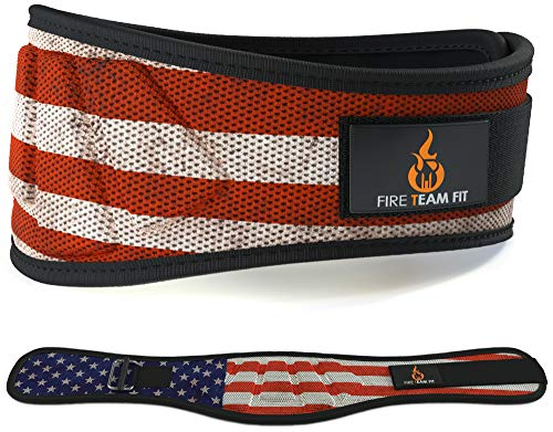 "Fire Team Fit Weightlifting Belt, Weight Belt, Weight Lifting Belt for Men and Women, 6 Inch, Back Support for Lifting, Squat and Deadlifting Workout Belt (Star Bar, 32"" - 38"" Around Navel, Medium)"