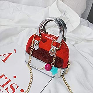 Adebie - 2019 Summer New Mini Kid Jelly Shell Handbag Transparent Clear Small Children's Tote Bag Cute Girl Hand Bag Scarf Shoulder Bag Red []