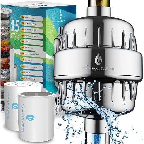 Filtro dell'acqua per doccia a 15 fasi, per rimuovere cloro e fluoruro, 2 cartucce per filtri per soffione doccia, addolcitore...