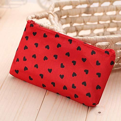 Qaoping Bolsa de cosméticos a Prueba de Agua pequeña Bolsa de cosméticos-Rose Red Dot Negro (Color : Red Black Love)