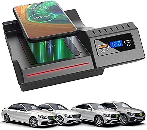 Cargador Inalámbrico Coche,para Mercedes-BenzC-Class GLC2021-2016 Panel Accesorios Consola Central Almohadilla Carga Inalámbrica,15WCargador Inteligente Tablero QC3.0 USB Cargador del Teléfono