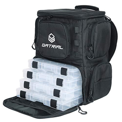 G GATRIAL Fishing-Backpack Fishing-Bags Tackle-Storage-Backpack - Large Waterproof Tackle Bag Storage with Protective Rain Cover and 4 Tackle Box Black