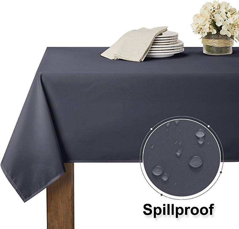 RYB HOME Waterproof Tablecloth For 6 Ft Rectangle Table Stain Resistant Wrinkle Free And Spillproof Washable Polyester Table Cover Dinning Restaurant 60 X 84 Inch Grey