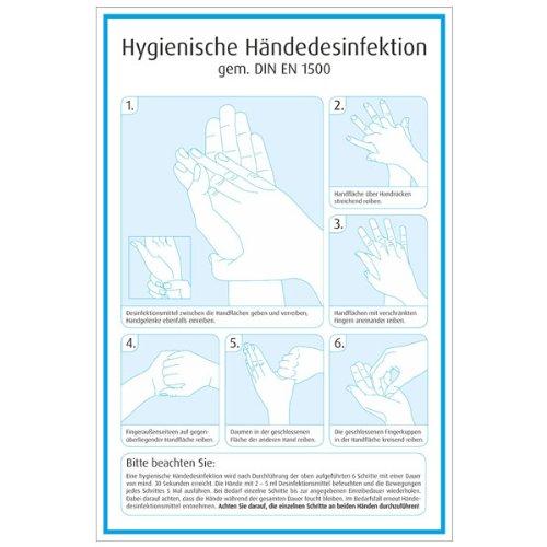 Hygienische Händedesinfektion gem. DIN EN 1500, Kunststoff, 20,0 x 30,0 cm