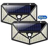 150 LED Luz Solar Exterior,HETP【Iluminación omnidireccional 6 lados】Luces led Solares Exteriores con Sensor de Movimiento Lámpara Solar Impermeable IP65 led Foco Solar para Exterior, paquete de 2