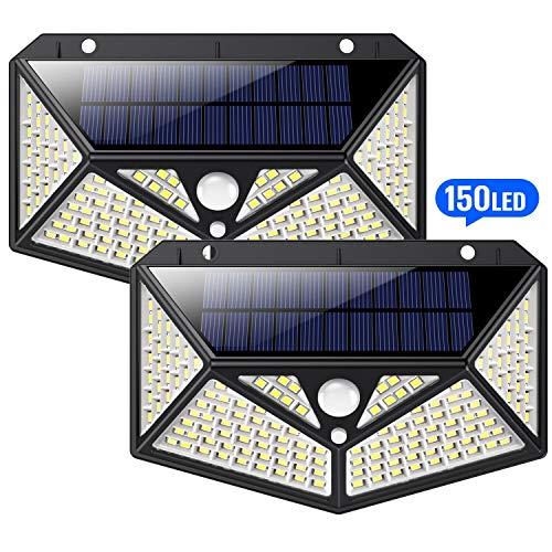 Solarleuchten für Außen 150 LED, HETP【6 - Seitliche-Beleuchtung】Solarlampen für Außen mit Bewegungsmelder【Superhelle 1500LM】Solarlampe Wandleuchte Wasserdicht Wireless - 3 Verschiedene Licht, 2er pack