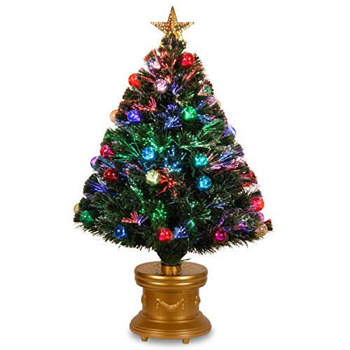 National Tree 36 Inch Fiber Optic Ornament Fireworks Tree with Gold Top Star and Multicolored Lights in Gold Base (SZOX7-100L-36-1)