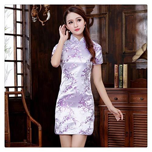 XYBB Chinese Qipao Klassische Frauen-Satin Cheongsam Oriental Braut Brautkleider Abendkleid-Partei (Color : Purple B, Size : 6XL.)