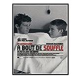 ZYHD Sin aliento À Bout De Souffle Jean-Luc Godard Película Lienzo Pintura Arte Carteles Impresión para la pared del hogar Decoración de la sala de estar -50x70cm Sin marco 1 Uds