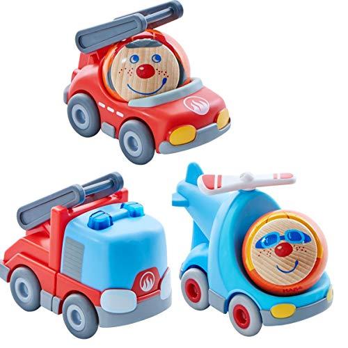 HABA Kullerbü - Juego de 3 flotas para coche de bomberos, helicóptero, juguete de motricidad