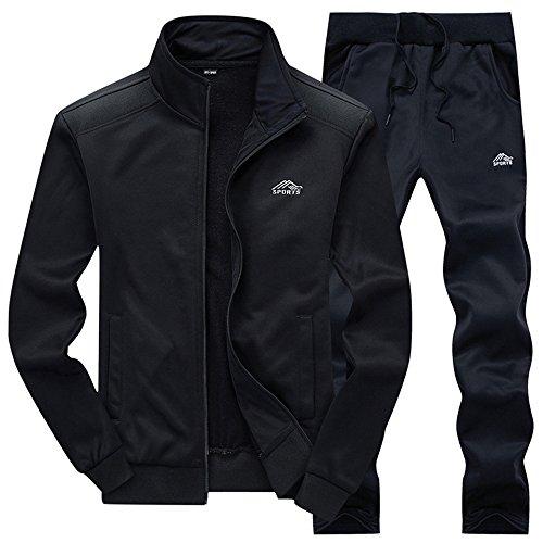Gopune Herren Athletic Trainingsanzug Full Zip Warm Jogging Sweat Suits - Schwarz - Groß