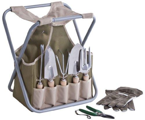 Zeller 16003 Set Da Giardino Con Contenitore E Sgabello, Verde, 36X30X40 Cm
