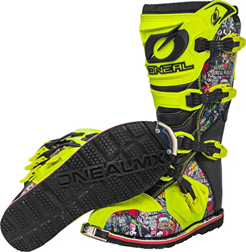 O'Neal Rider Boot Crank MX Cross Stiefel Neon Gelb Pin It Motorrad Enduro Motocross Offroad, 0329-0, Größe 44 - 4