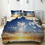 Juego de Funda nórdica Beige, Mystic Sunset Reflection on Sea Print, Juego de Cama Decorativo de 3 Piezas con 2 Fundas de Almohada