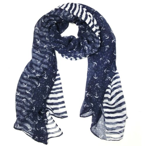 Wrapables Stripes and Anchor Nautical Marine Scarf 72' X 42'