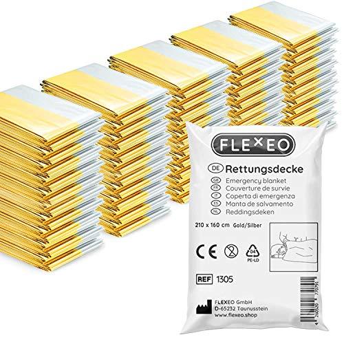 1 | 10 | 20 | 50 Stück | FLEXEO Rettungsdecke gold silber | 210cm x 160cm | Rettungsfolie | Notfall | Erste-Hilfe | Notfalldecke | Goldfolie | Silberfolie (50 Stück)