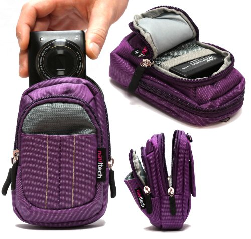 Navitech - Lila Digitalkamera Tasche für Aquapix W1400 Active mit Gürtel und Schultergurt