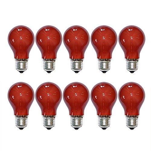 10 x Glühbirne 40W E27 Rot Glühlampe 40 Watt Glühbirnen Glühlampen dimmbar für außen und innen Party Deko (Rot)