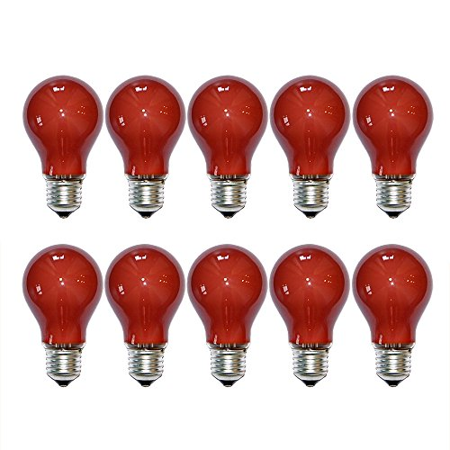 10 x Glühbirne 25W E27 ROT Glühlampe 25 Watt Glühbirnen Glühlampen bunt