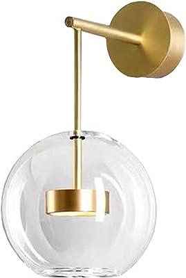 HJXDtech Applique murale moderne à LED, Lampe de murale en métal laiton avec abat-jour en verre, Luminaire d'intérieur pour salle de bain de la chambre (Court)