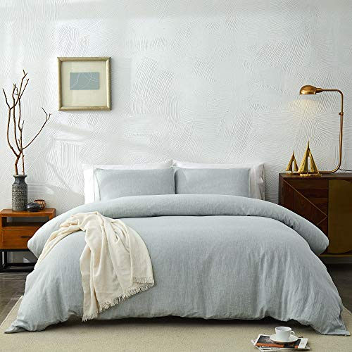 DAPU Pure Linen Duvet Cover Set, 100% Natural French Linen from Normandy, Breathable and Durable for Hot Sleepers, 1 Duvet Cover and 2 Pillowcases (Pastel Green, Full/Queen)