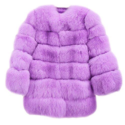 FOLOBE Womens ' Inverno Caldo Cappotto di Pelliccia Faux Vest Stile Lungo