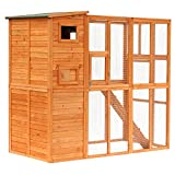 PawHut Large Wooden Outdoor Cat House with Large Run...