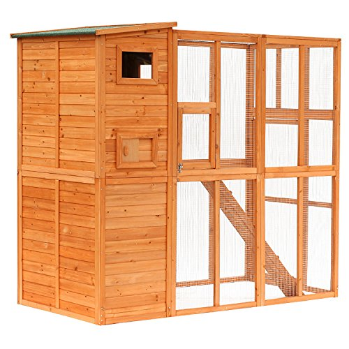 PawHut Large Wooden Outdoor Cat House with Large Run for Play, Catio for Lounging, and Condo Area for Sleeping, Natural