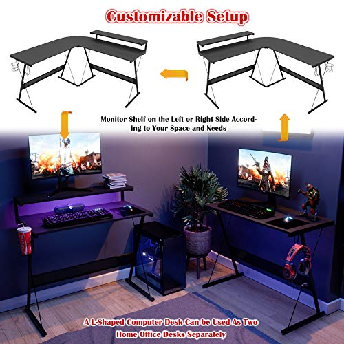 Bestier L-Shaped Desk With Elevated Monitor Shelf