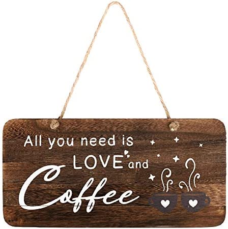 Coffee Bar Decor Sign All You Need is Love and Coffee Real Pallet Rustic Wood Coffee Sign for product image