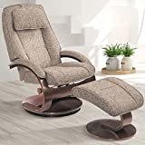 Comfort Chair Company Oslo Collection by Mac Motion Bergen Recliner and Ottoman in Teatro Graphite Fabric