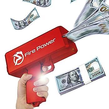 UNKENBO Money Gun Shooter - Prop Guns for Movies That Look Real  Cash Gun Make it Rain with Play Money 100 Dollar Bills   Red