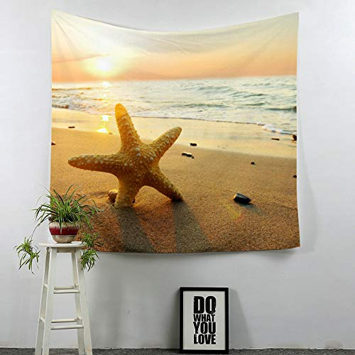 Beydodo Wandteppich Vintage Sonnenuntergang Seestern Strand Wandteppich Psychedelic 150×100CM Tapisserie Wandbehang