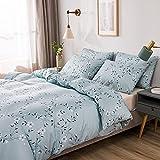 Boqingzhu Bettwäsche 135×200cm Blumen Blau Weiß Blümchen Blüten Blumenmuster Bettwäsche Set Microfaser Bettbezug und Kissenbezug 80x80cm mit Reißverschluss