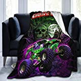 Grave Digger Monster Truck Throw Blanket Reversible Warm Ultra Soft Micro Fleece Blanket All Season for Kids Boys Adults Blankets for Bed, Couch and Sofa 60'' x50