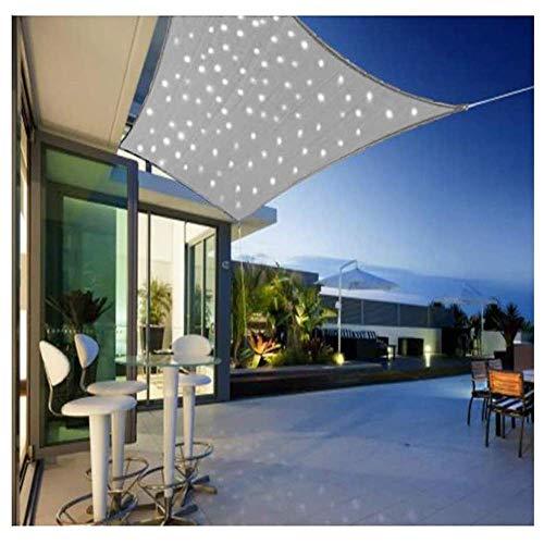 SNING Garten Sonnensegel Sonnenschutzmittel mit eingebauter LED-Lichtkette UV Schutz Pergolaabdeckung Windschutz Sonnenschutz Sonnenschirm Draussen-3.6x3.6m Rechteck