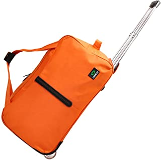 Travel Holdall Bags Trolley Handbag Hand Luggage Ladies With Wheels Holiday (Color : Orange, Size : 20inches)