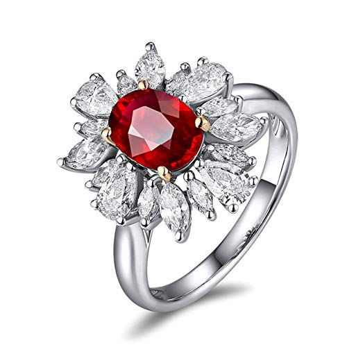 Beydodo Weißgoldring Damen 750 Diamant Blume mit Oval Rubin 1.15ct Weißgold Verlobungsringe Hochzeit Ring Große 47 (15.0)